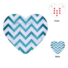 Chevron9 White Marble & Teal Brushed Metal (r) Playing Cards (heart)  by trendistuff