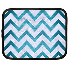 Chevron9 White Marble & Teal Brushed Metal (r) Netbook Case (large) by trendistuff