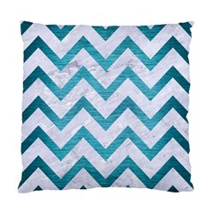 Chevron9 White Marble & Teal Brushed Metal (r) Standard Cushion Case (two Sides) by trendistuff