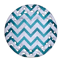 Chevron9 White Marble & Teal Brushed Metal (r) Ornament (round Filigree) by trendistuff