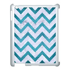 Chevron9 White Marble & Teal Brushed Metal (r) Apple Ipad 3/4 Case (white) by trendistuff