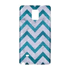 Chevron9 White Marble & Teal Brushed Metal (r) Samsung Galaxy Note 4 Hardshell Case by trendistuff