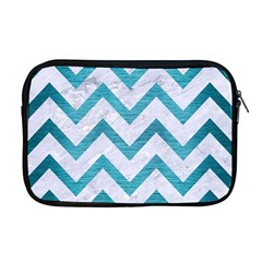 Chevron9 White Marble & Teal Brushed Metal (r) Apple Macbook Pro 17  Zipper Case by trendistuff