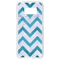 Chevron9 White Marble & Teal Brushed Metal (r) Samsung Galaxy S8 White Seamless Case by trendistuff
