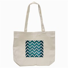 Chevron9 White Marble & Teal Brushed Metal Tote Bag (cream) by trendistuff