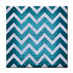 Chevron9 White Marble & Teal Brushed Metal Face Towel by trendistuff