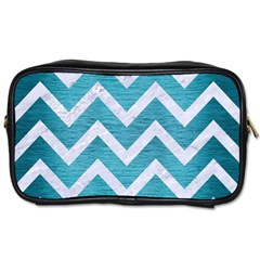 Chevron9 White Marble & Teal Brushed Metal Toiletries Bags 2 Side by trendistuff