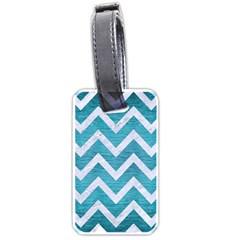 Chevron9 White Marble & Teal Brushed Metal Luggage Tags (one Side)  by trendistuff