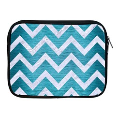 Chevron9 White Marble & Teal Brushed Metal Apple Ipad 2/3/4 Zipper Cases by trendistuff