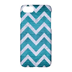 Chevron9 White Marble & Teal Brushed Metal Apple Iphone 8 Hardshell Case by trendistuff