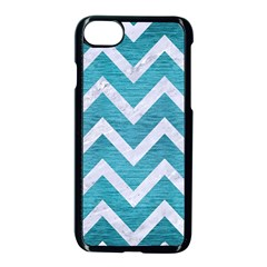 Chevron9 White Marble & Teal Brushed Metal Apple Iphone 8 Seamless Case (black) by trendistuff