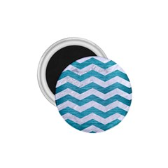 Chevron3 White Marble & Teal Brushed Metal 1 75  Magnets by trendistuff