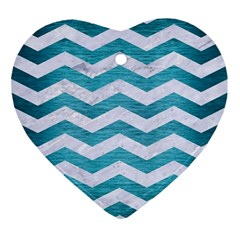 Chevron3 White Marble & Teal Brushed Metal Ornament (heart) by trendistuff