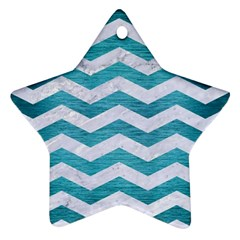 Chevron3 White Marble & Teal Brushed Metal Star Ornament (two Sides) by trendistuff