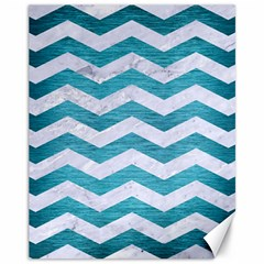 Chevron3 White Marble & Teal Brushed Metal Canvas 11  X 14   by trendistuff