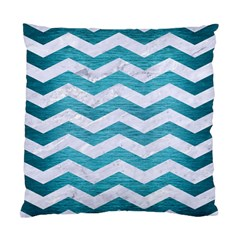 Chevron3 White Marble & Teal Brushed Metal Standard Cushion Case (two Sides) by trendistuff