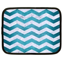 Chevron3 White Marble & Teal Brushed Metal Netbook Case (xxl)  by trendistuff