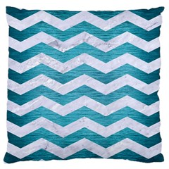 Chevron3 White Marble & Teal Brushed Metal Large Cushion Case (one Side) by trendistuff
