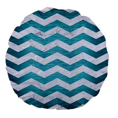 Chevron3 White Marble & Teal Brushed Metal Large 18  Premium Flano Round Cushions by trendistuff