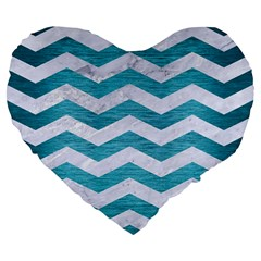 Chevron3 White Marble & Teal Brushed Metal Large 19  Premium Flano Heart Shape Cushions by trendistuff