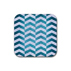 Chevron2 White Marble & Teal Brushed Metal Rubber Coaster (square)  by trendistuff