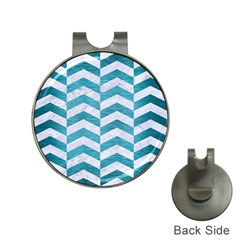 Chevron2 White Marble & Teal Brushed Metal Hat Clips With Golf Markers by trendistuff