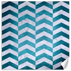 Chevron2 White Marble & Teal Brushed Metal Canvas 16  X 16   by trendistuff