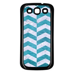 Chevron2 White Marble & Teal Brushed Metal Samsung Galaxy S3 Back Case (black) by trendistuff