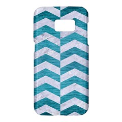 Chevron2 White Marble & Teal Brushed Metal Samsung Galaxy S7 Hardshell Case  by trendistuff