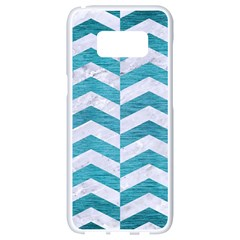 Chevron2 White Marble & Teal Brushed Metal Samsung Galaxy S8 White Seamless Case by trendistuff