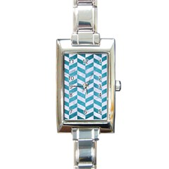 Chevron1 White Marble & Teal Brushed Metal Rectangle Italian Charm Watch