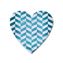 Chevron1 White Marble & Teal Brushed Metal Heart Magnet by trendistuff