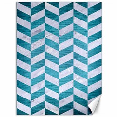 Chevron1 White Marble & Teal Brushed Metal Canvas 36  X 48   by trendistuff
