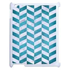 Chevron1 White Marble & Teal Brushed Metal Apple Ipad 2 Case (white) by trendistuff