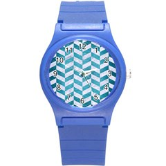 Chevron1 White Marble & Teal Brushed Metal Round Plastic Sport Watch (s) by trendistuff