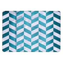 Chevron1 White Marble & Teal Brushed Metal Samsung Galaxy Tab 10 1  P7500 Flip Case by trendistuff