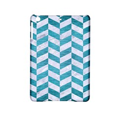 Chevron1 White Marble & Teal Brushed Metal Ipad Mini 2 Hardshell Cases by trendistuff