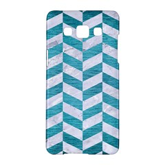 Chevron1 White Marble & Teal Brushed Metal Samsung Galaxy A5 Hardshell Case  by trendistuff