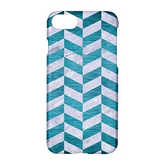 Chevron1 White Marble & Teal Brushed Metal Apple Iphone 7 Hardshell Case by trendistuff