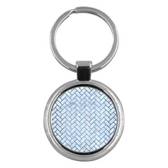Brick2 White Marble & Teal Brushed Metal (r) Key Chains (round)  by trendistuff