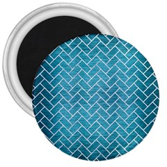 Brick2 White Marble & Teal Brushed Metal 3  Magnets by trendistuff