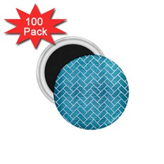 Brick2 White Marble & Teal Brushed Metal 1 75  Magnets (100 Pack)  by trendistuff