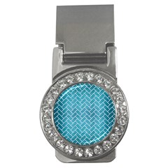 Brick2 White Marble & Teal Brushed Metal Money Clips (cz)  by trendistuff