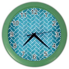 Brick2 White Marble & Teal Brushed Metal Color Wall Clocks by trendistuff