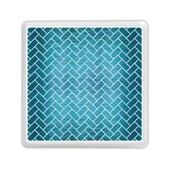 Brick2 White Marble & Teal Brushed Metal Memory Card Reader (square)  by trendistuff