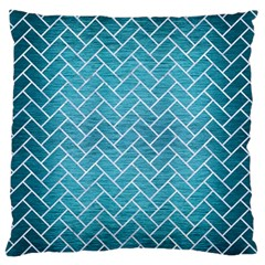 Brick2 White Marble & Teal Brushed Metal Large Flano Cushion Case (one Side) by trendistuff