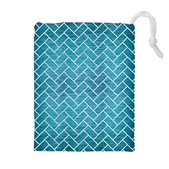 Brick2 White Marble & Teal Brushed Metal Drawstring Pouches (extra Large)