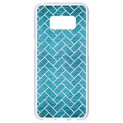 Brick2 White Marble & Teal Brushed Metal Samsung Galaxy S8 White Seamless Case by trendistuff
