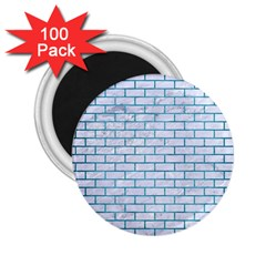 Brick1 White Marble & Teal Brushed Metal (r) 2 25  Magnets (100 Pack)  by trendistuff