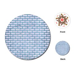 Brick1 White Marble & Teal Brushed Metal (r) Playing Cards (round)  by trendistuff